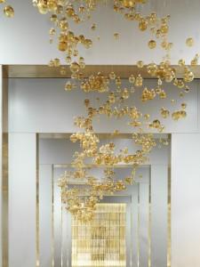 5000 Golden Baubles Hanging at the New Bathroom Brands Gallery showroom