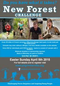 Poster for New Forest Challenge – April 2015.  Pilgrimbandits.org