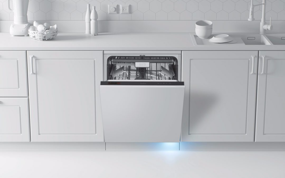 Blue Dot Shines on Floor To Show Cycle End on New Amica Integrated Dishwasher