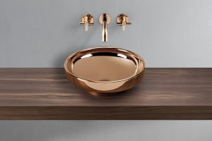 Water Jewels Basin and wall mounted mixer taps – rose gold