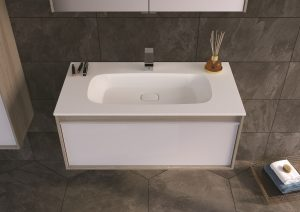 M-Line Infinit furniture from VitrA – silver oak with mineral cast washbasin