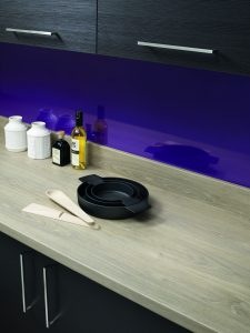 Bushboard's Omega laminate worksurface and upstand in Quebec Oak with Sanitized Actifresh anti-bacterial protection HR