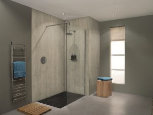 Nuance bathroom panelling from Bushboard Chalkwood