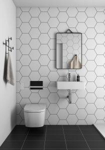 V-care showering WC & VitrA miniworx tiles