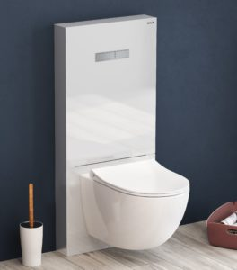 Vitrus glass in wall system from www.VitrA shown in opaque white