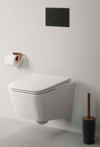 VitrA Eternity by Sebastian Conran bathroom accessories shown with V-Care shower WC