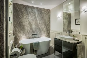 Bushboard Nuance Wall panelling used in bathrooms by Darren Smith Homes