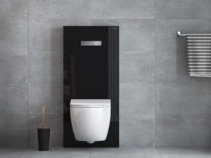 Vitrus glass inwall system for WCs shown in opaque black from www.VitrA.co.uk